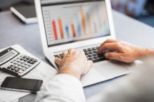 Businessman preparing financial report