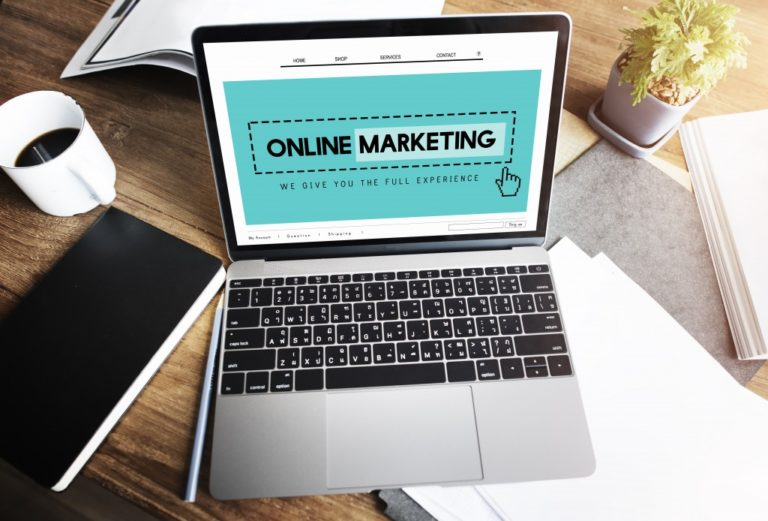 Online marketing homepage on a laptop