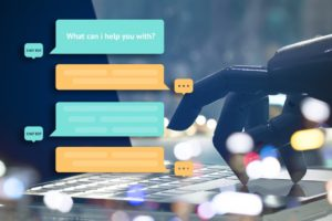 a robot typing on laptop, conversing with customers