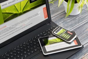 Brand website on phone, laptop and tablet
