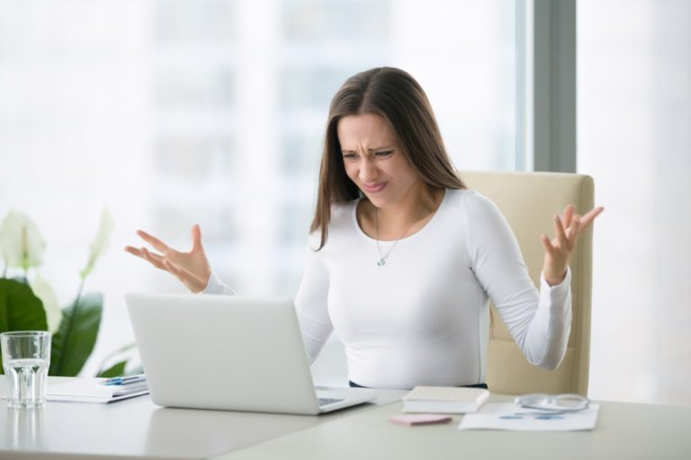 woman stressed over work